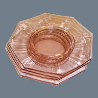 "SET OF 4: Pink Depression Glass Octagonal 8 1/2"" Plates"