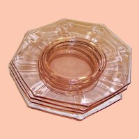 "SET OF 4: Pink Depression Glass Octagonal 8 1/2"" Plates"
