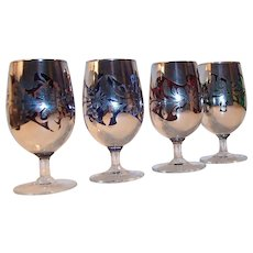 Set of 4: Silver Overlay Colored Glass Cordials