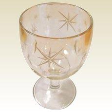 16 oz. Amber Flashed Atomic Star Midcentury Thumbprint Goblet