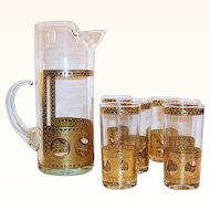 West Virginia Glass Pitcher and SIX Tumblers Mid-Century Beverage Set