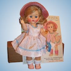 """1957 Fab Premium """"Picture"""" Ginger Doll, Brochure, Mailing Box"""