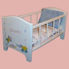Vintage Wooden Strombecker Vogue Ginnette Baby Doll Crib & Bedding