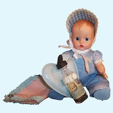 Vogue 1950's Ginnette Baby Doll;Twin Outfit, Bottle Holder, Glass Bottle, Plastic Diaper Cover and more