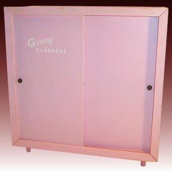 1950's Vintage Vogue Ginny Pink Wardrobe w/ Sliding Doors