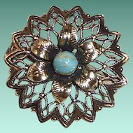 Delicate Open Work Flower Pin Made in Germany