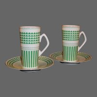 Neiman Marcus Shamrock Design: Set of TWO  Irish Coffee / Espresso Mugs,  Cups, Saucers