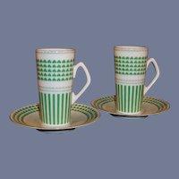 Neiman Marcus Shamrock Design: Set of TWO  Irish Coffee / Espresso Mugs,  Cups, Saucers