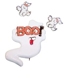 Vintage Halloween Ghost Pin & Earrings