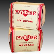 TWO 1930's -1940's Gayheart's One Pint Ice Cream Boxes NOS