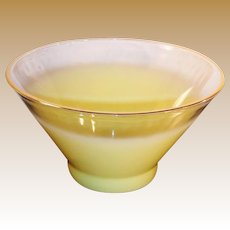 SALE: West Virginia Glass Blendo Frosted Yellow Large Serving Bowl
