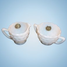 Bright White Hazel Atlas Opaque Ware Creamer and Sugar;  NOS Labels Intact