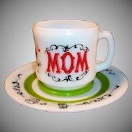 "Hazel Atlas Gay 90's ""Mom"" Mug & 7""  Plate Set"
