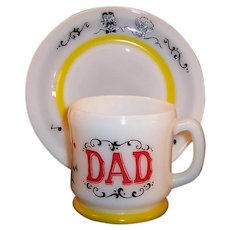 "Hazel Atlas Gay 90's DAD Mug with 7""  Dessert / Breakfast Plate Set"