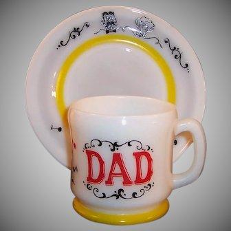 "Hazel Atlas Gay 90's DAD Mug with 7""  Dessert / Breakfast Plate Set"