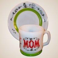 "Hazel Atlas Gay 90's MOM Mug with 7""  Dessert / Breakfast Plate Set"
