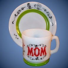 "Hazel Atlas Gay 90's MOM Mug with 7""  Dessert / Breakfast Plate Set"