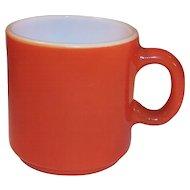 Vintage Fired On Rust Milk Glass Mug
