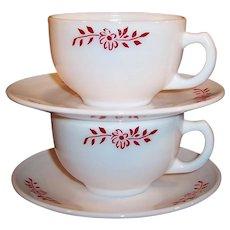 Hazel Atlas Ovide Platonite Red Flower Design Cup & Saucer (2 avail)