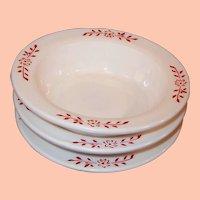 "Hazel Atlas Ovide Platonite 4 3/4"" Fruit / Berry Bowls Red Design (3 Avail)"