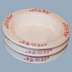 "Hazel Atlas Ovide Platonite 4 3/4"" Fruit / Berry Bowls Red Design (3 Avail)"