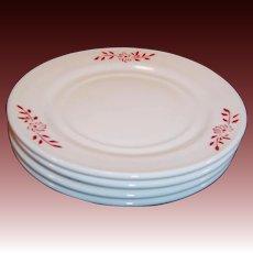 """Hazel Atlas Ovide Platonite 6"""" Dessert Plates Red Flower Design (4 avail.)"""