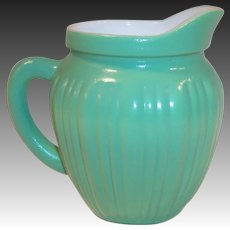 Hazel Atlas Gay Rainbow Green Milk Pitcher