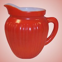 Hazel Atlas Gay Rainbow Orange Milk Pitcher