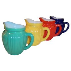 Complete Set of FOUR Hazel Atlas KIX Gay Rainbow Milk Pitchers