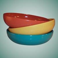 "Hazel Atlas  Moderntone Sierra 6"" Salad / Soup Bowls (Set of Three)"