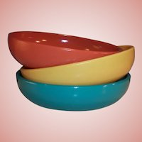 "Hazel Atlas  Moderntone Sierra 6"" Salad / Soup Bowls (Set of Three)"
