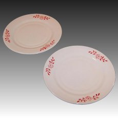 "Hazel Atlas Ovide Platonite 6"" Dessert Plate Red Flower Design (2 avail)"