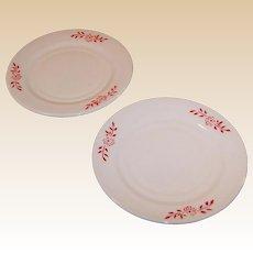 """Hazel Atlas Ovide Platonite 6"""" Dessert Plate Red Flower Design (2 avail)"""
