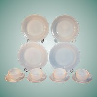 Service for FOUR:  Platonite  White Dinnerware by Hazel Atlas