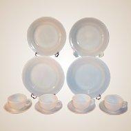 Service for FOUR:  Platonite  White Dinnerware by Hazel Atlas