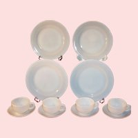 Service for FOUR:  Platonite  White Dinnerware by Hazel Atlas ...(Pretty at Christmas!)