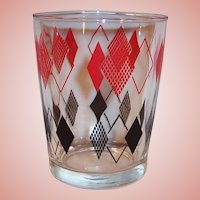 1950's Hazel Atlas Red & Black Diamonds Old Fashioned Tumbler