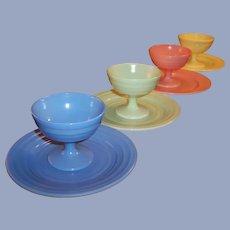 Hazel Atlas Moderntone Pastel Dessert Sherbets and Plates (SET OF 4,  8 pieces))