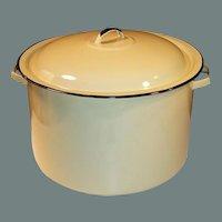10 - 12 Quart Retro 1960's -70's Large Harvest Gold Stock Pot