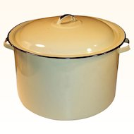 10 - 12 Quart Retro 1960's -70's Large Harvest Gold Stock Pot