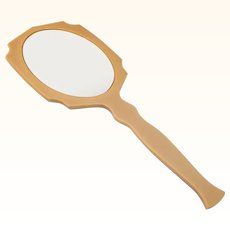 "Vintage Early Plastics Hand Held Beveled Mirror ""Tortoise"" Back"