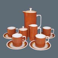Mid-Century Ironstone Coffee Set -- Harmony House Tierra (for Sears) Coffeepot, Creamer, Sugar, Cups & Saucers