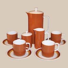 Mid-Century Ironstone Coffee Set -- Harmony House Tierra Coffeepot, Creamer, Sugar, Cups & Saucers