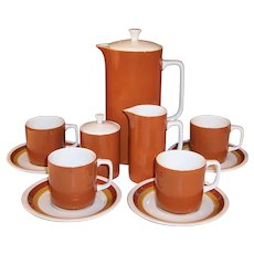Mid-Century Ironstone Coffee Set -- Harmony House Tierra Coffeepot, Creamer, Sugar, Cups & Saucers