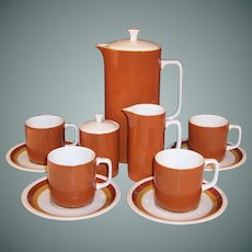 Vintage Mid-Century Ironstone Coffee Set -- Harmony House Tierra