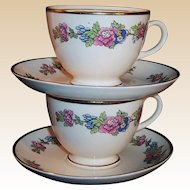 Homer Laughlin 1940's Bristol Cup & Saucer Set (2 available)