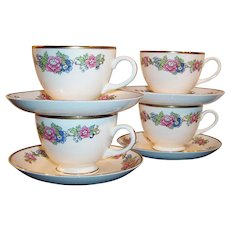 SET of 4: 1940's Homer Laughlin: Bristol Pattern Cup & Saucer Sets