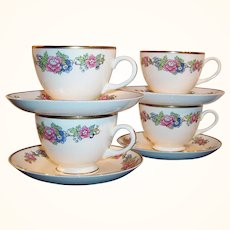 SET of 4: 1940's Homer Laughlin: Bristol Pattern Cup & Saucer Sets