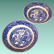 "TWO 5"" Homer Laughlin Blue Willow Dessert or Fruit Bowls"