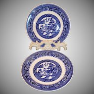 "TWO 6 1/4"" Homer Laughlin Blue Willow Dessert Plates"
